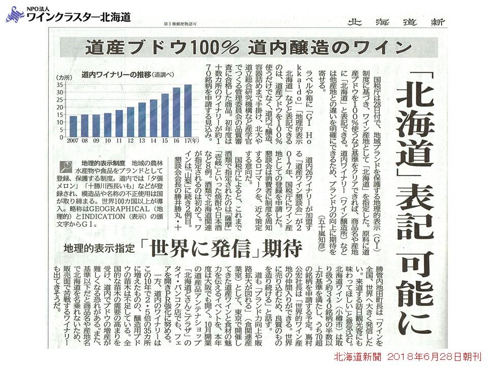 GI(地理的表示)北海道新聞 2018年6月28日